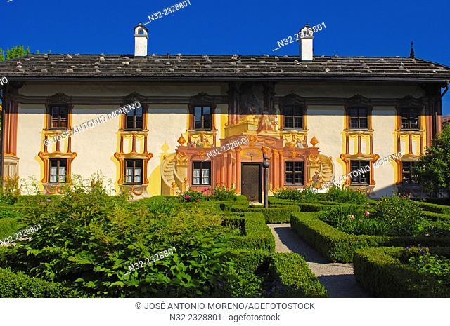 Pilatus House, Oberammergau, Bavarian passion play town, Mural painting, Upper Bavaria, Germany, Europe