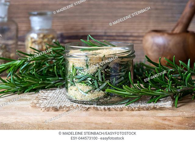 Preparation of a homemade rosemary syrup from fresh plant and cane sugar
