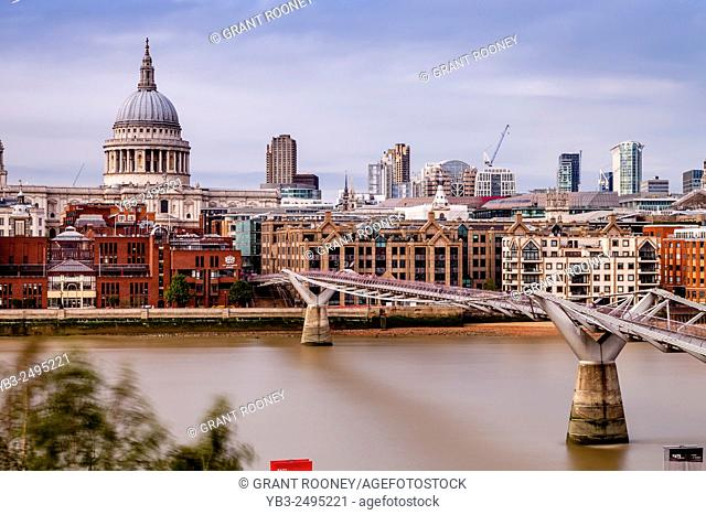 The River Thames and London Skyline, London, England