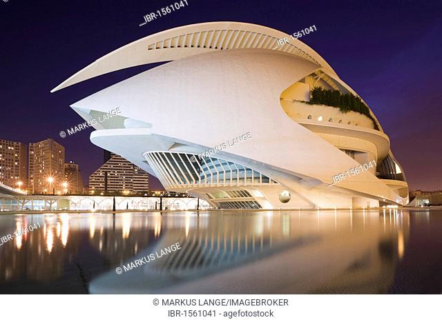Opera house Palau de les Arts Reina Sofía, Ciudad de las Artes y las Ciencias City of Arts and Sciences, Valencia, Comunidad Valencia, Spain, Europe