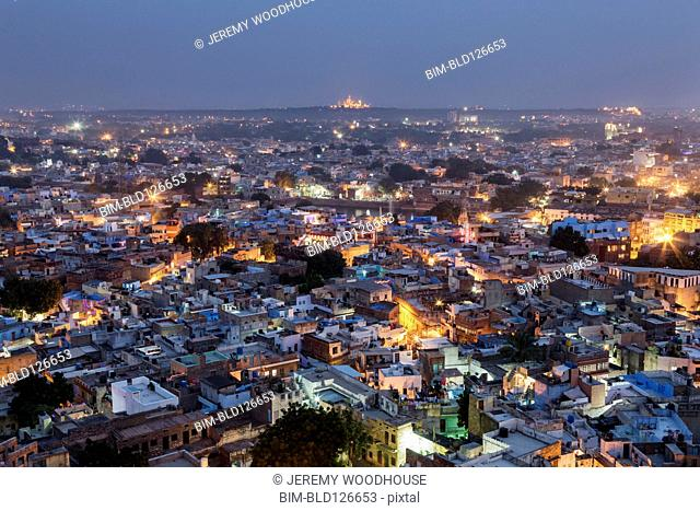 Aerial view of city at dusk, Jodhpur, Rajasthan, India