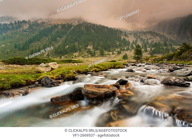 Italy, Piedmont, Cuneo District, Gesso Valley, Alpi Marittime Natural Park, Gesso torrent on a cloudy day