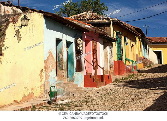 Colorful colonial houses near the Plaza Mayor-Main Square in the town center, Trinidad, Sancti Spiritu Province, Cuba, West Indies, Central America
