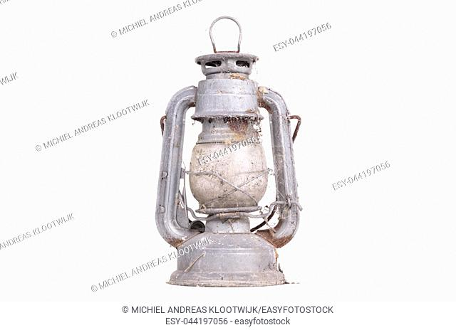 Vintage kerosene oil lantern lamp, isolated on white background