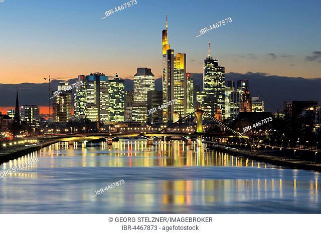 Frankfurt skyline, blue hour, Frankfurt, Hesse, Germany