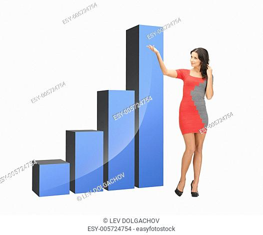 beautiful businesswoman pointing at big 3d chart