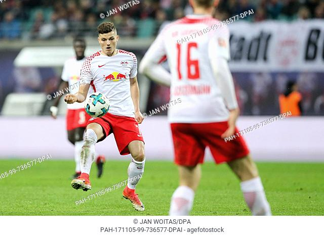 Leipzig's Marcel Sabitzer in action during the German Bundesliga soccer match between RB Leipzig and Hanover 96 in the Red Bull Arena in Leipzig, Germany
