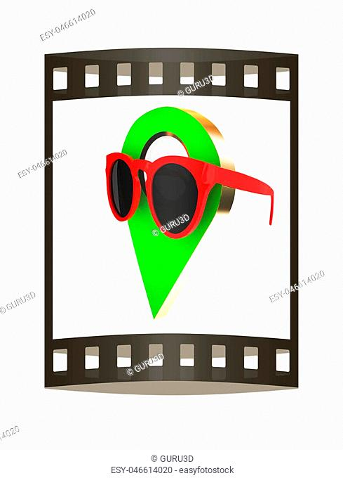 Glamour map pointer in sunglasses. 3d illustration. The film strip