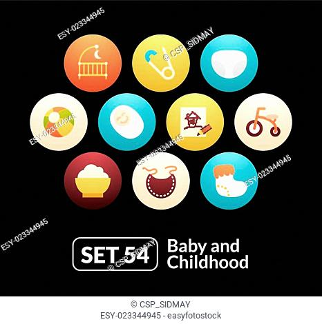 Flat icons set 54 - baby and childhood