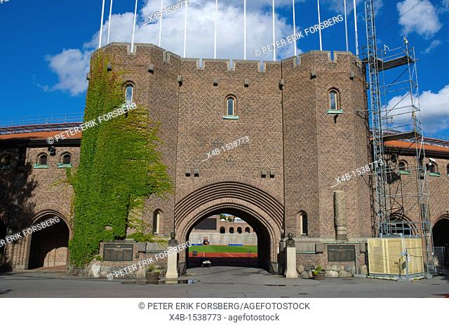 Main gate under construction Stockholms Olympiastadion the Olympic Stadium in 1912 games Östermalm district Stockholm Sweden Europe
