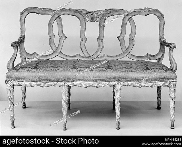 Settee. Date: third quarter 18th century; Culture: Italian; Medium: Walnut, painted and gilded; damask; Dimensions: Overall: 34 3/4 x 52 3/4 x 21 in