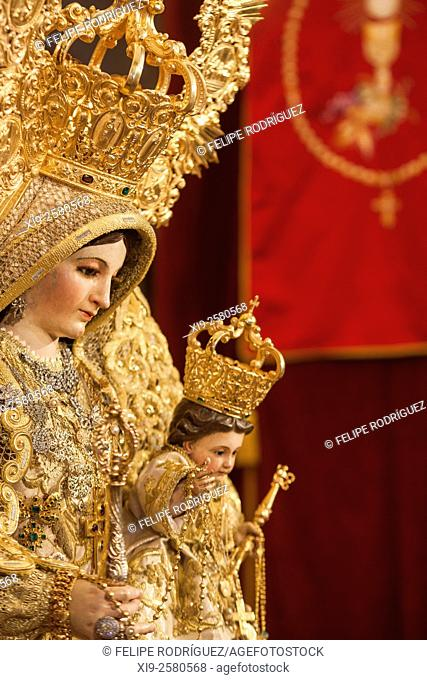 Close-up image of Our Lady of the Rosary (Virgen del Rosario), an anonymous carving from the 18th century, San Martin church, Carrion de los Cespedes, Seville