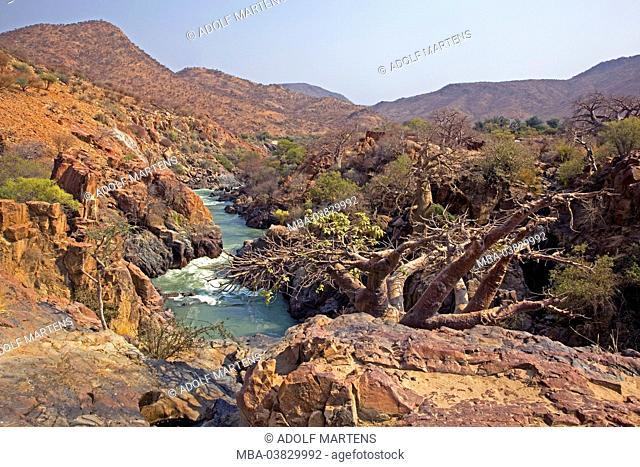 Africa, Namibia, Kunene region, Kaokoveld, Kaokoland, Kunene river, rapids, border area, Angola