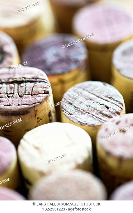 Close up of wine corks. Cork collection with variety. Concept of making or drinking wine