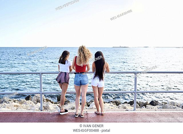 Spain, Mallorca, Palma, rear view of three young women standing at the sea