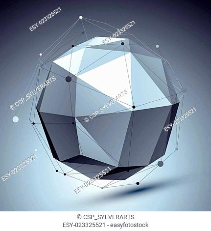 Modern digital technology style, abstract background with orbital undertone figure and asymmetric wireframes, vector tech complicated 3d object placed over...