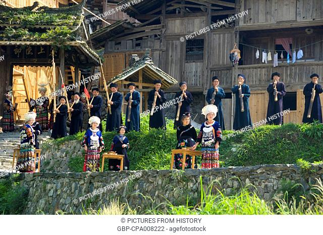 China: Miao welcome visitors at the village of Langde Shang, southeast of Kaili, Guizhou Province
