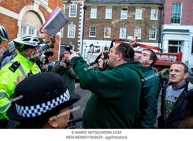 Scuffles broke out when members of 'Britain First' disrupted a Muslim demonstration attended by Anjem Choudary outside the Egyptian Embassy