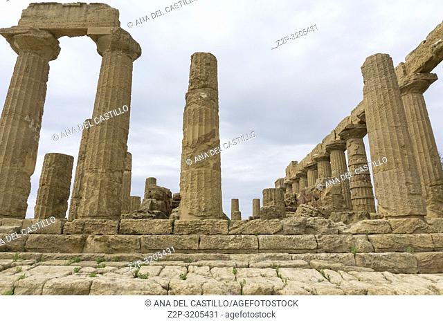 The Temple of Juno in the Valley of the Temples at Agrigento, Sicily Italy on October 11, 2018