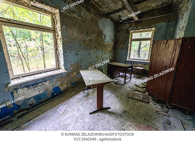 Interior of fire station building in Chernobyl-2 military base, Chernobyl Nuclear Power Plant Zone of Alienation in Ukraine