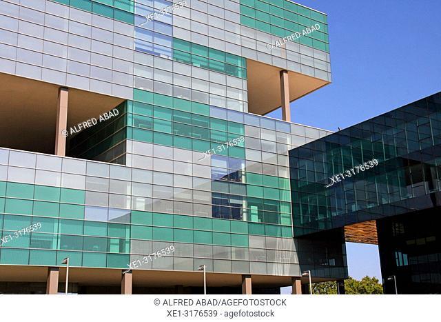 building of Ciutat de l'Aigua, Zona Franca, Barcelona, Catalonia, Spain