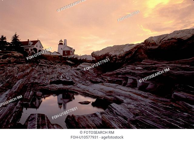 lighthouse, sunrise, sunset, Maine, ME, Pemaquid Point, Bristol, Pemaquid Head Light reflects in a pool of water at sunrise along the rocky coast of the...