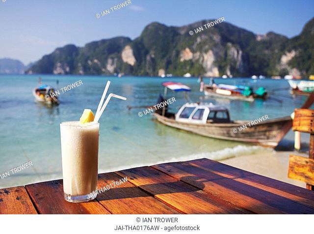 Fruit shake on Ao Ton Sai beach, Ko Phi Phi Don, Thailand