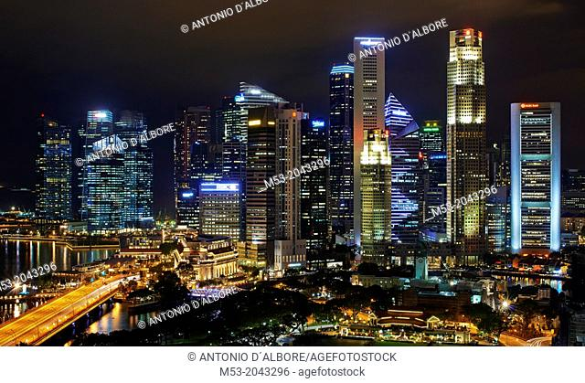 The Central Business District by night. Singapore