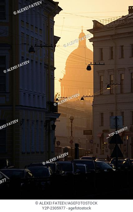 Dome of St. Isaac's Cathedral at sunset