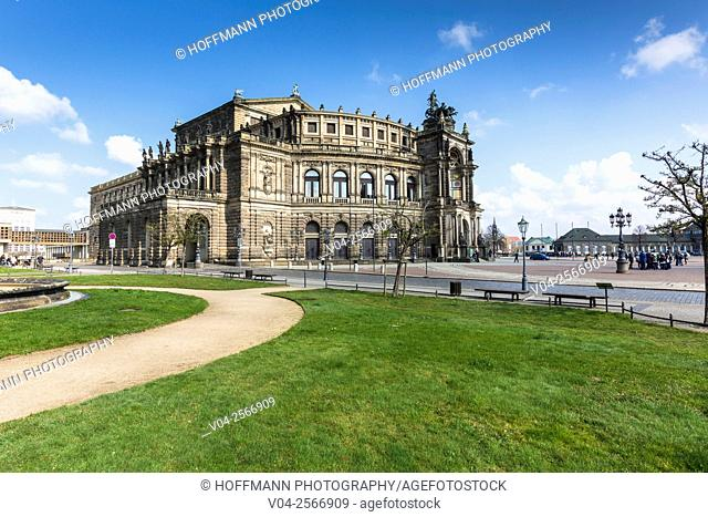 The picturesque Semperoper in Dresden, Saxony, Germany, Europe