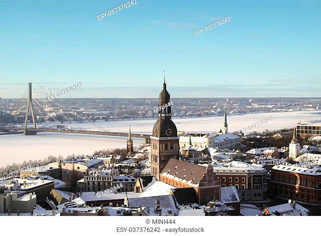 Aerial view of Old Riga in winter, Latvia