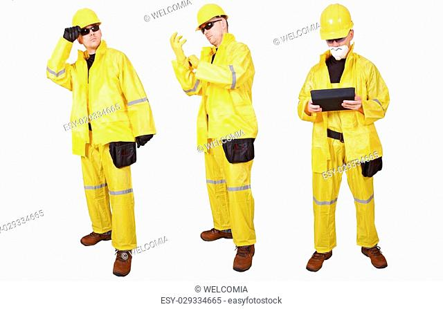 Yellow Suit Contractors Isolated on White Background. Three Contractors
