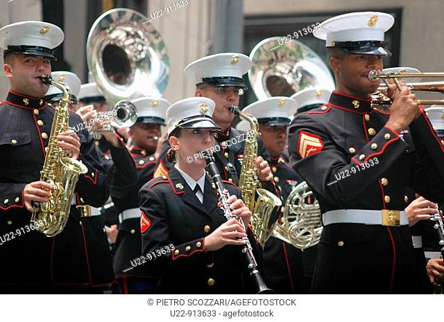 New York City (USA): the Marines musical band along the 5th Avenue during the Puerto Rican parade