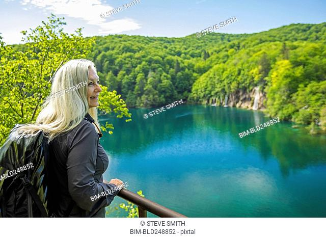 Older Caucasian woman admiring scenic view
