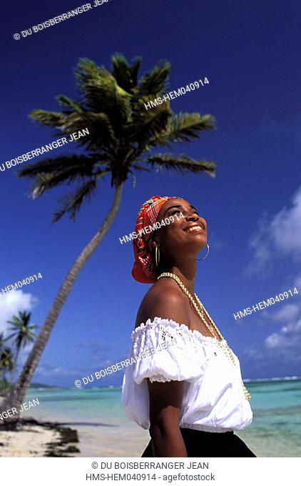 France, Guadeloupe (French West Indies), Sainte Anne,young Creole woman on the beach