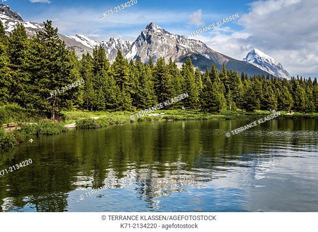 Lac Beauvert and Pyramid Mountain at Jasper Park Lodge, Alberta, Canada
