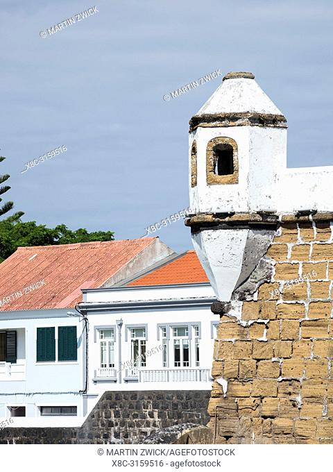 The old fortifications of Porto Pim. Horta, the main town on Faial. Faial Island, an island in the Azores (Ilhas dos Acores) in the Atlantic ocean