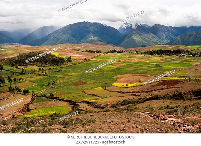 Landscape in the Sacred Valley near Cuzco. The Sacred Valley of the Incas or the Urubamba Valley is a valley in the Andes of Peru
