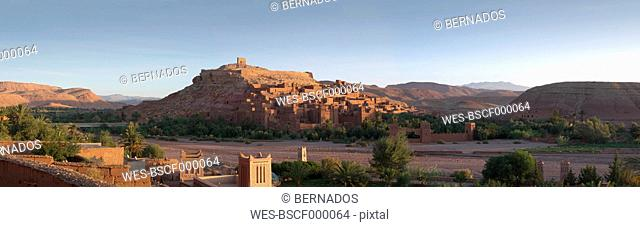 Morocco, Ait Benhaddou, View of historic film set at sunrise