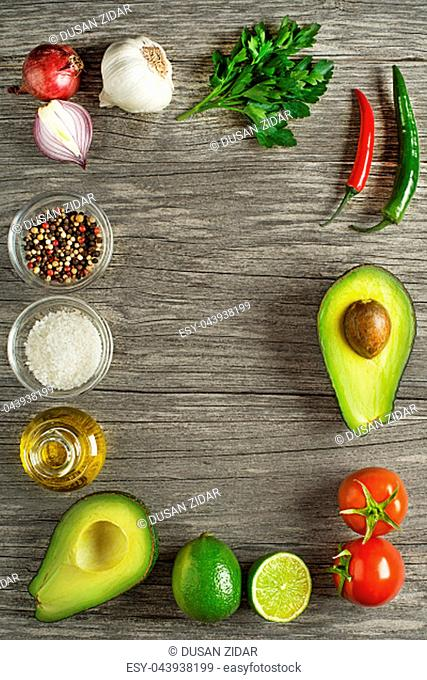 Ingredients for healthy meal with avocado- traditional Guacamole sauce