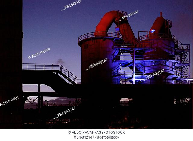 Old blast furnace, Landschaftspark, Duisburg, Ruhr area, Germany