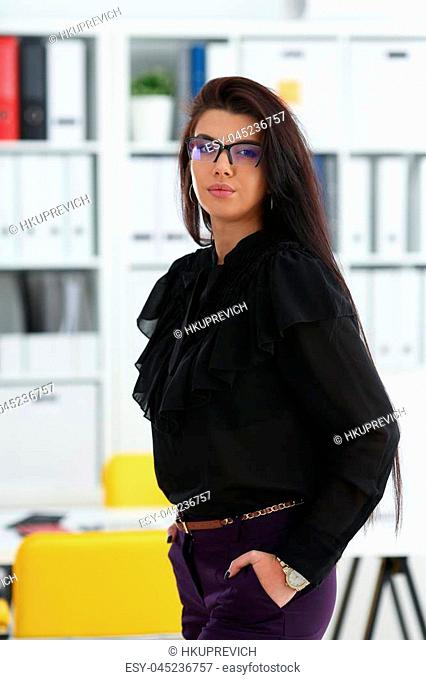 Beautiful smiling brunette woman in office posing arms crossed on chest wearing stylish glasses portrait. White collar worker at workspace officer highly pay...