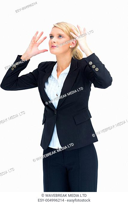Blond Businesswoman Raising Stock Photos And Images Age