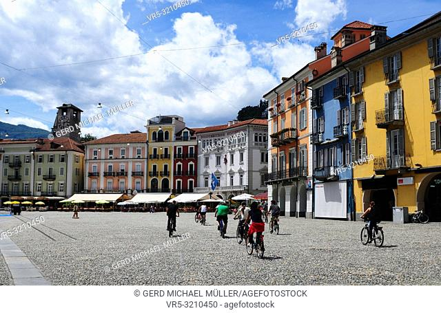 South Switzerland: Biker's on the Piazza Grande at Locarno where the film-festival takes place