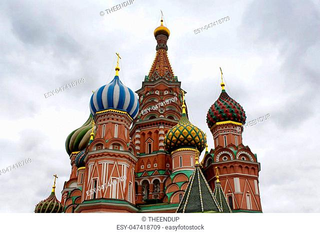 Bottom view of St. Basil's Cathedral. Multicolored domes top this 16th-century now contains a museum of the church