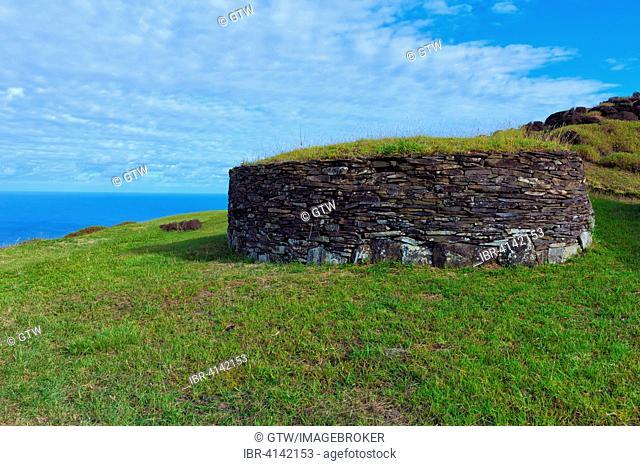 Restored stone house, Orongo Ceremonial village, Unesco World Heritage Site, Rapa Nui National Park, Easter Island, Chile