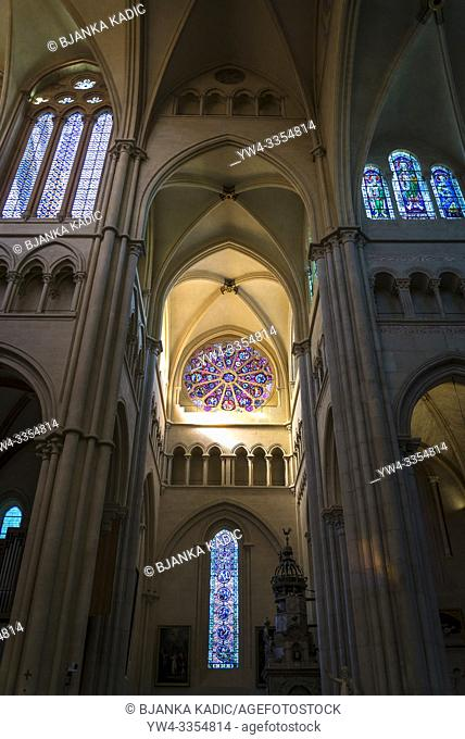 Rose window in the transept of the Lyon Cathedral, The cathedral is dedicated to Saint John the Baptist, and is the seat of the Archbishop of Lyon, Lyon, France