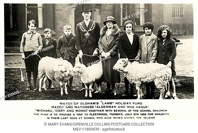 Mayor of Oldham's 'Lamb' Holiday Fund - The Mayor and Mayoress (Alderman and Mrs Hague), the sheep ('Michael', 'Mary' and 'Mona') with several of the school...