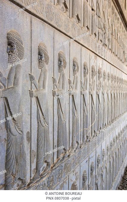 Persian guard procession carved on the Apadana Staircase, Persepolis, Iran