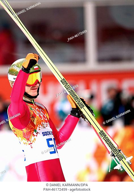 Kamil Stoch of Poland celebrates after winning the Men's Normal Hill Individual in RusSki Gorki Jumping Center at the Sochi 2014 Olympic Games, Krasnaya Polyana
